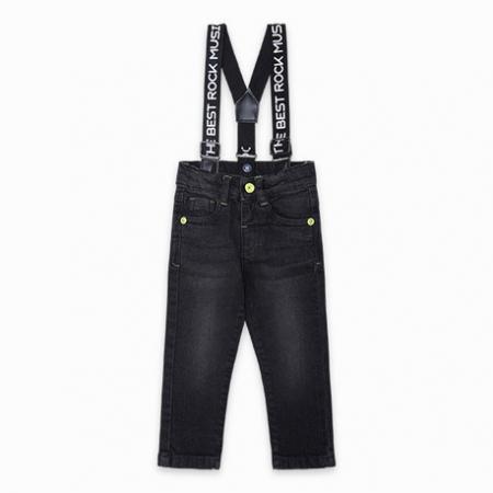 Tuc Tuc Pantaloni Jeans Con Bretelle Neri The Best Band Abbigliamento